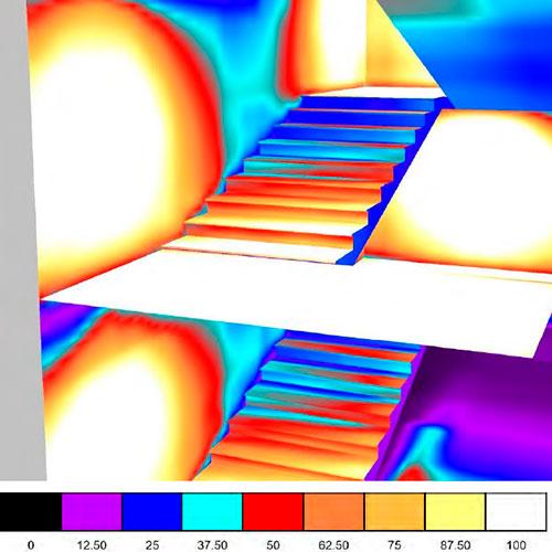Світлотехнічний розрахунок освітлення сходів